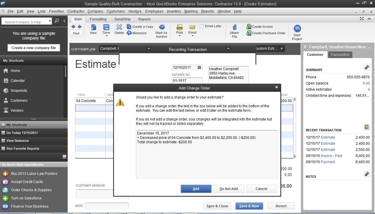 Contractor Accounting Software QuickBooks Desktop Enterprise - Construction estimate and invoice software
